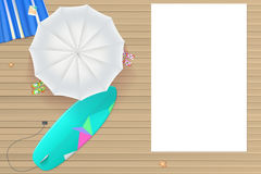 Colored sun umbrellas, surfboard, flip-flops and a beach Mat on the wooden backgroun Royalty Free Stock Image