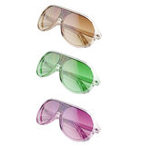 Colored sunglasses. 3 different colored sunglasses over white Stock Photography