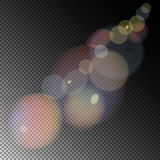 Colored sunlight lens flare. Transparent special light effect. Vector illustration Royalty Free Stock Photos