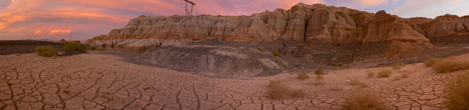 Colored sunset in Rodeo and geological rock formation, Argentina Stock Photography