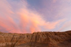 Colored sunset in Rodeo and geological rock formation, Argentina Stock Photos