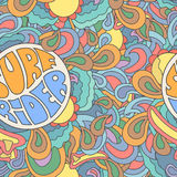 Colored surfing retro  hand drawn pattern. Summer Royalty Free Stock Photo