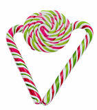 Colored sweet candy, lollipop stick, Saint Nicholas sweets, Christmas candys isolated, white background Stock Photography