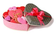 Colored sweet heart cookies in festive box Stock Photos