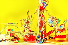 Colored sweet lollipops and candys Stock Photos
