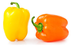 Colored sweet peppers on a white background Stock Photo