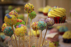 Colored sweets on a table during a party. Candybar Stock Images
