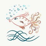 Colored swimming graceful goldfish, painted lines with swirls, b. Low bubbles in the form of heart stock illustration