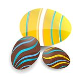 Colored and swirl easter eggs set Royalty Free Stock Image