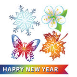 Colored symbols of new year. Snowflake,flower,butterfly,maple le Stock Images