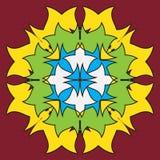 Colored symmetrical mandala - flower shape vector illustration