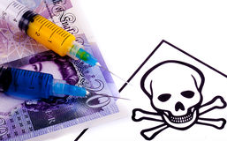 Colored Syringes on Money Stock Photos