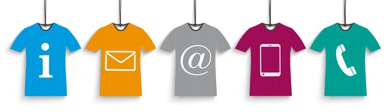 5 Colored T-Shirts Contact Us Header vector illustration