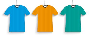3 Colored T-Shirts Header. Header with colored t-shirt price stickers on the white background Stock Photos