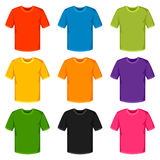 Colored t-shirts templates. Set of promotional and advertising clothes.  Stock Images
