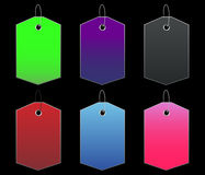 Colored tags - 9 - on black. Vectors - colored tags on black Stock Photo