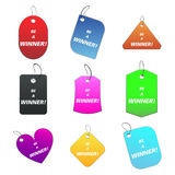Colored tags - be a winner. 100% vectors - colored labels, tags Royalty Free Illustration