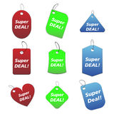 Colored tags - super deal. 100% vectors - colored labels, tags Stock Illustration
