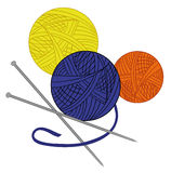 Colored tangle of thread and needles drawn vector Royalty Free Stock Images