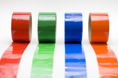 Colored tape. Multi colored tape isolated on white royalty free stock photo