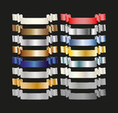 Colored tapes. Gold silver red white blue Stock Photo