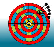 Colored target board. Abstract colored background with small black arrows and colored target board Stock Image