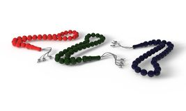 Colored Tasbih thirty three bead of background, 3d render Stock Photos