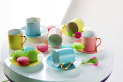 Colored tea cups Royalty Free Stock Image