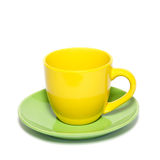 Colored teacup and saucer Royalty Free Stock Photo