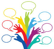 Colored teams with different ideas. Colorful bubbles for good ideas Royalty Free Stock Image