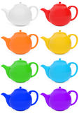 Colored teapots set. Set of colored teapots with reflections. Vivid glossy teapots in red, orange, yellow, green, cyan, dark blue, violet, white colors (left Royalty Free Stock Image