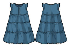 Colored tech sketch of a summer dress. Front and back sides for further product development vector illustration