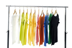 Colored Tee. Shirts displayn on white Royalty Free Stock Photo