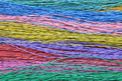 Colored telecommunication cables. As abstract background Stock Photos