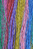 Colored telecommunication cables. As abstract background Royalty Free Stock Photos