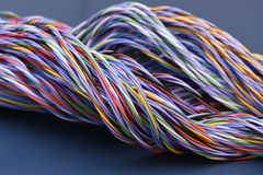 Colored telecommunications cables Royalty Free Stock Images