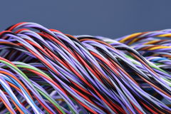 Colored telecommunications cables Stock Photo