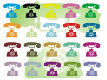 Colored telephones. Abstract colored illustration with colored phones Stock Photo
