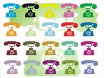 Colored telephones Stock Photo