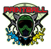 Colored template for design on the theme of paintball his helmet, weapon, blots Stock Photos