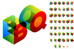 Colored text in isometric view. Vector illustration of colored text in isometric view. Standard characters Stock Photo