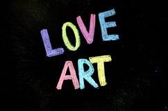 Colored text love art on blackboard.  stock photo
