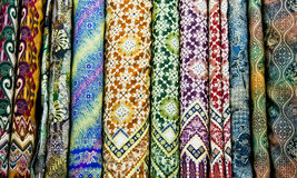 Colored textile in a traditional east bazaar, Yogyakarta on Java Stock Photography