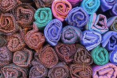 Colored textile in a traditional south east asia. Thailand. Colored textile in a traditional south east asia, Thailand Royalty Free Stock Photography