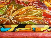 Colored textiles for sewing. Colored print textiles for sewing Royalty Free Stock Photos