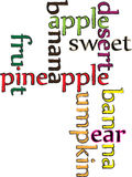 Colored texts fruit. Beautiful colored texts fruit banana apple sweet pineapple pear pumpkin fruit desert Stock Photos