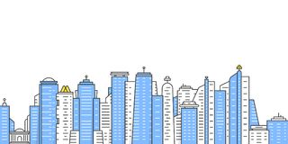 Colored thin line city panoramic view. Concept of panorama of downtown area like hong kong and neighborhood. simple flat style modern logotype minimal graphic Royalty Free Stock Images