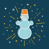 Colored snowman icon in thin line style Royalty Free Stock Image