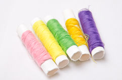 Colored thread. Rolls of colored thread Stock Photo