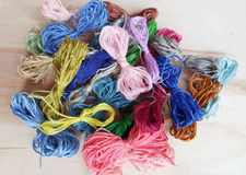 Colored thread for  embroider a  tapestry Stock Photo